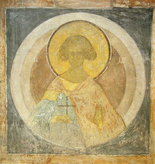 Russian art. Andrei Rublev. Saint martyr Lavr. Fresco on the  south-east column of Assumption Cathedral on the Gorodok in Zvenigorod c. 1400